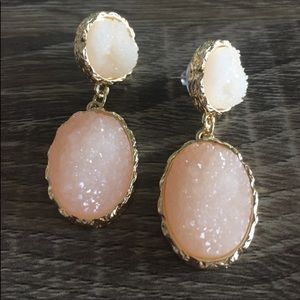 Anthro Druzy Quartz Earrings in Blush